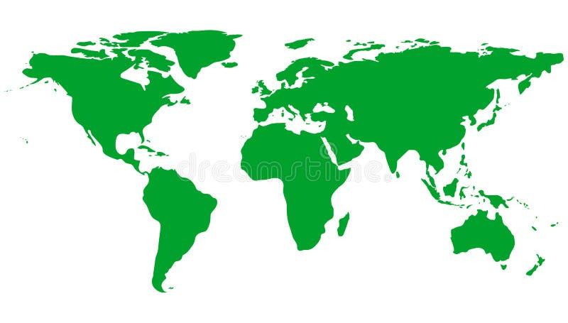 Mapa del mundo verde aislado en el fondo blanco Planeta verde Día de ambiente de mundo Ilustración del vector stock de ilustración