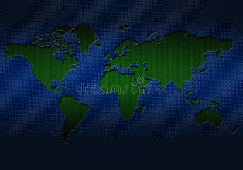 Mapa del mundo verde con el plano, diseño texturizado stock de ilustración