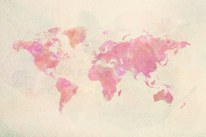 Mapa del mundo del vintage de la acuarela en colores rosados stock de ilustración