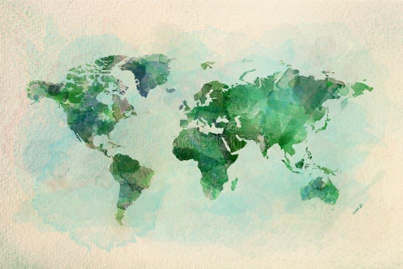 Mapa del mundo del vintage de la acuarela en colores verdes stock de ilustración