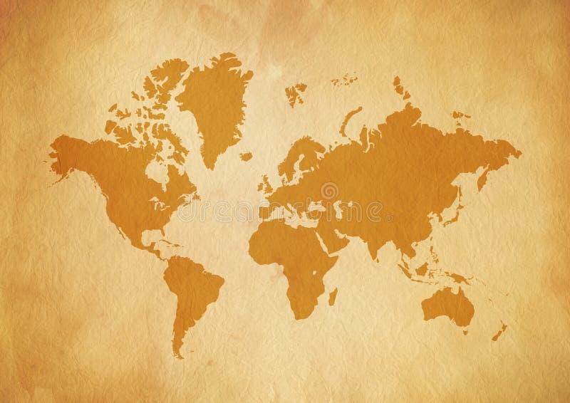 Mapa del mundo del vintage en el papel de pergamino viejo stock de ilustración