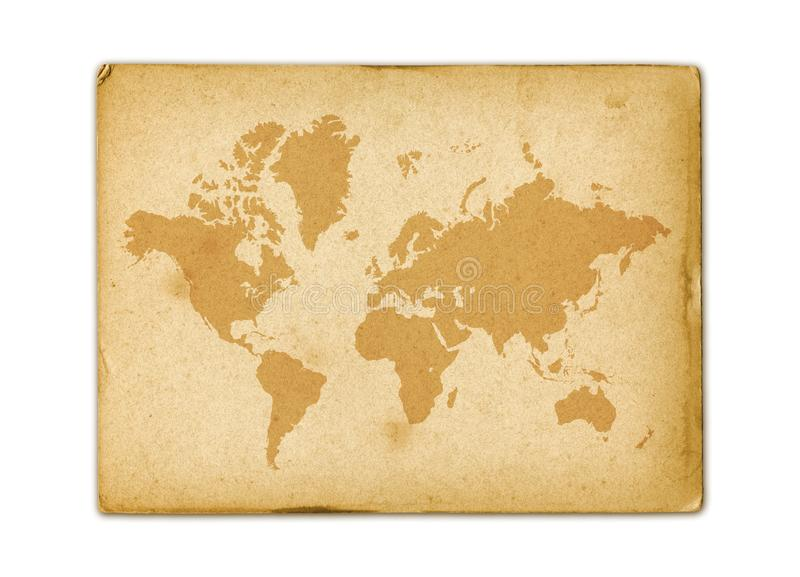 Mapa del mundo del vintage en el papel de pergamino viejo ilustración del vector