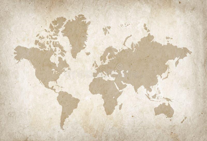 Mapa del mundo del vintage en el papel de pergamino viejo libre illustration