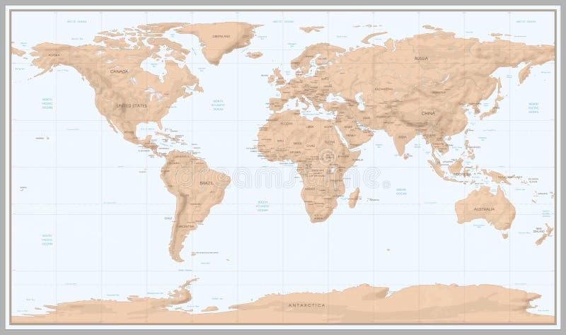 Mapa del mundo del vintage Límites retros de los países en mapa topográfico o marino La vieja navegación de los continentes traza ilustración del vector