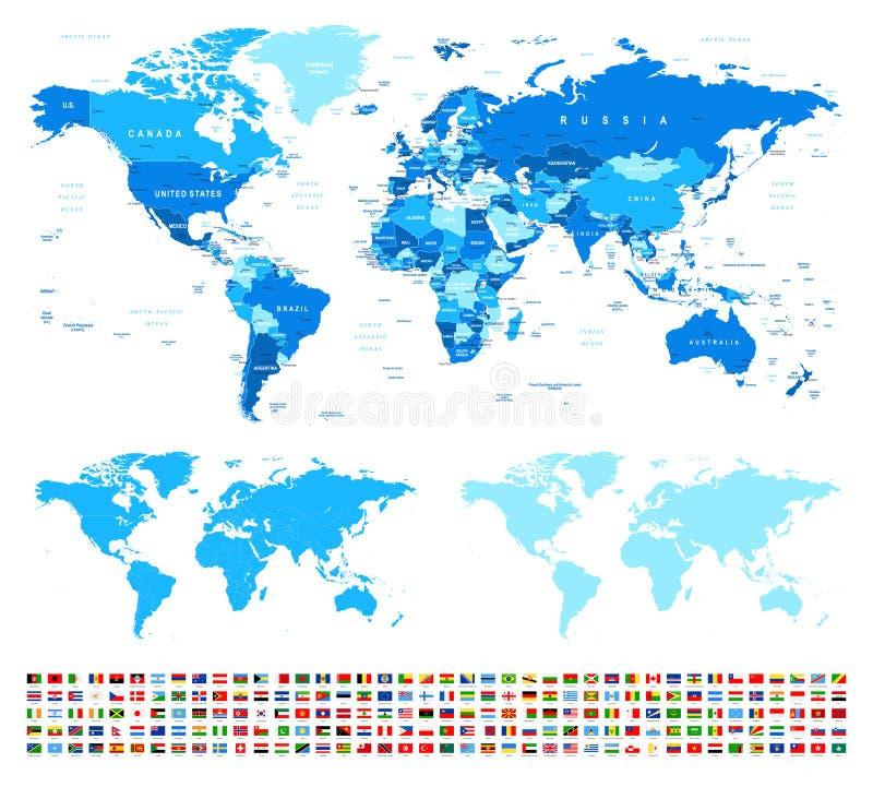 Mapa del mundo y banderas - fronteras, países y ciudades - ejemplo ilustración del vector