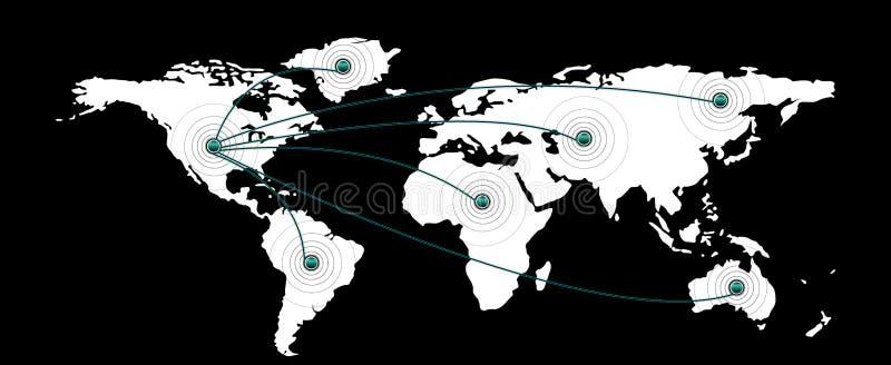 Mapa del mundo y continentes stock de ilustración