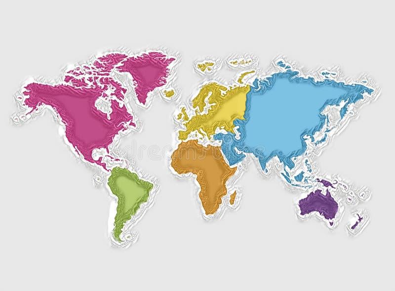 Mapa del mundo y continentes coloridos, textura abstracta libre illustration