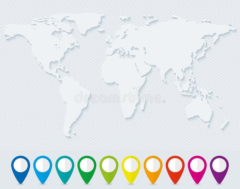 Mapa del mundo y sistema de indicadores coloridos del mapa stock de ilustración
