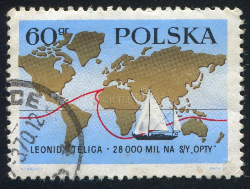 Mapa del mundo y velero Opty stock de ilustración