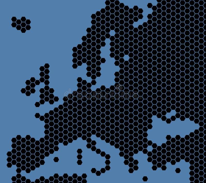 Mapa del negro azul de Europa stock de ilustración