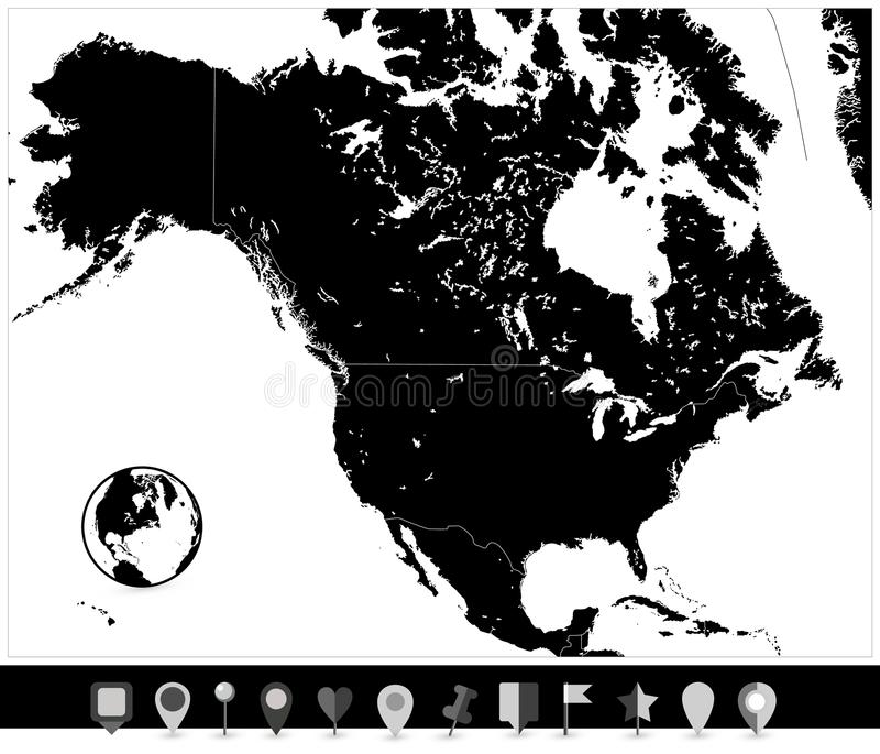 Mapa del negro de Norteamérica e indicadores planos del mapa stock de ilustración