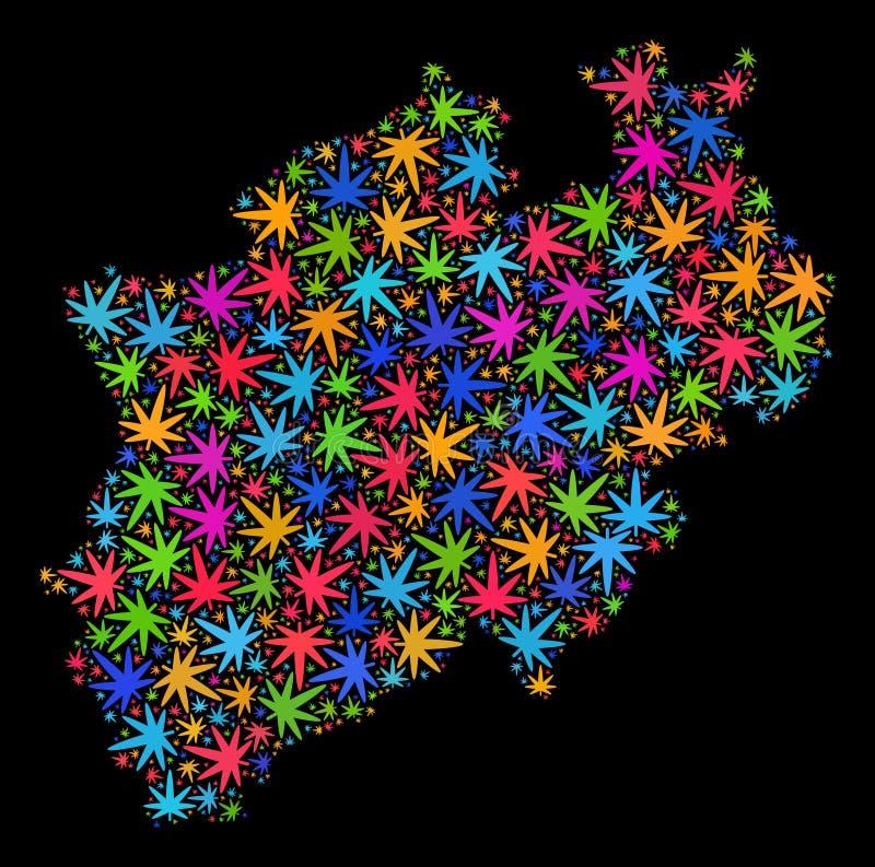 Mapa del norte de la tierra de Rin-Westfalia del mosaico de las hojas brillantes del cáñamo ilustración del vector