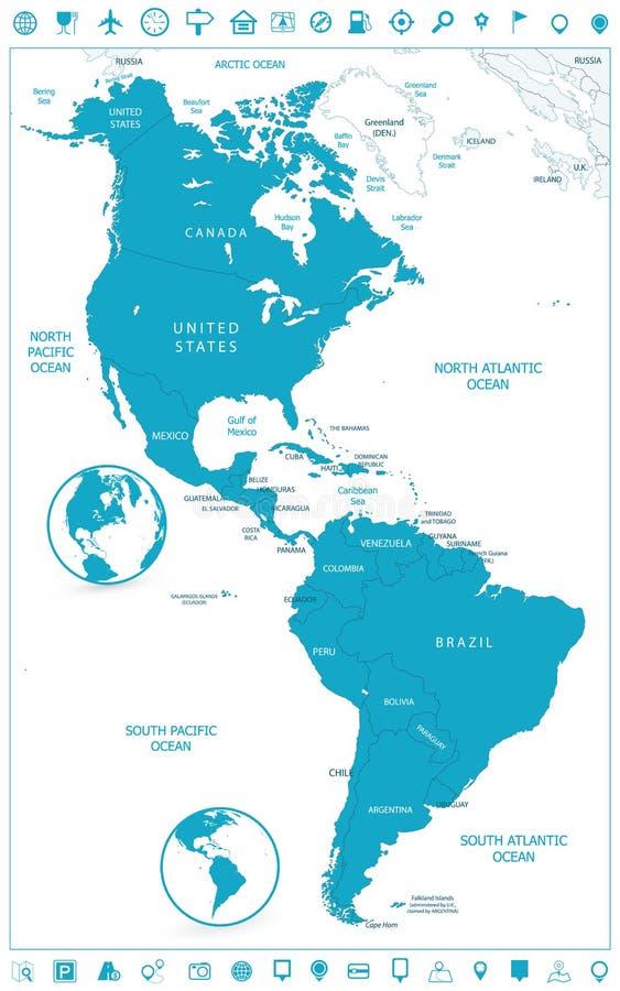 Mapa del norte y de Suramérica e iconos políticos de la navegación ilustración del vector