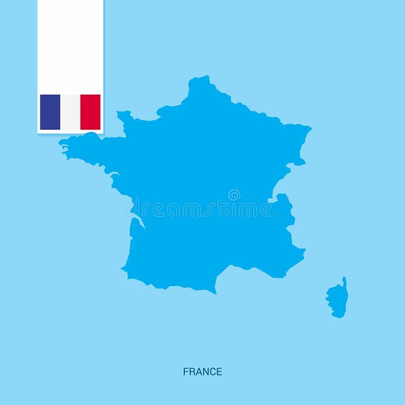 Mapa del país de Francia con la bandera sobre fondo azul stock de ilustración