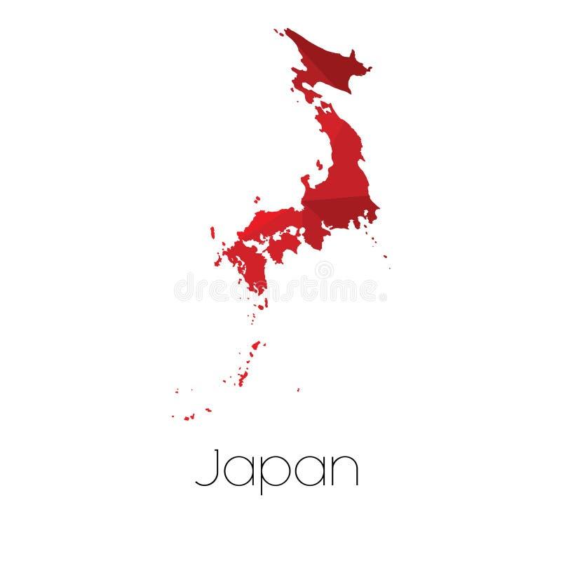Mapa del país de Japón imagen de archivo