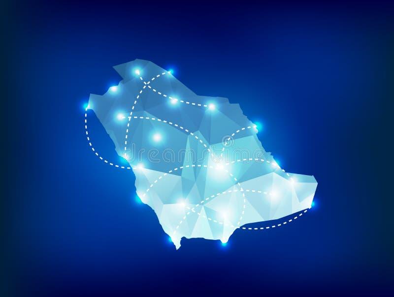 Mapa del país de la Arabia Saudita poligonal con la luz del punto stock de ilustración