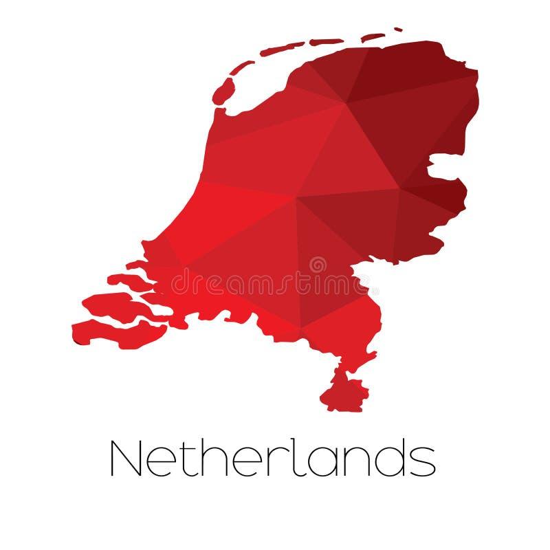 Mapa del país de Países Bajos fotos de archivo