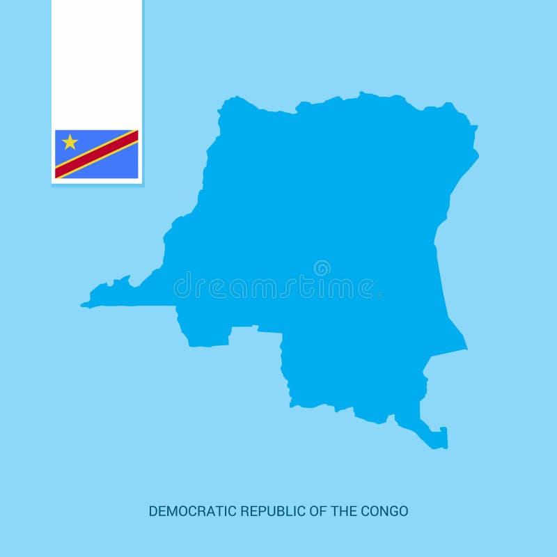 Mapa del país de República Democrática del Congo con la bandera sobre fondo azul stock de ilustración