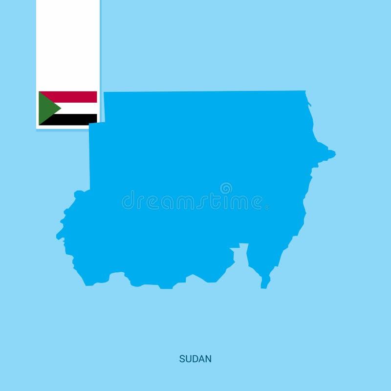 Mapa del país de Sudán con la bandera sobre fondo azul stock de ilustración