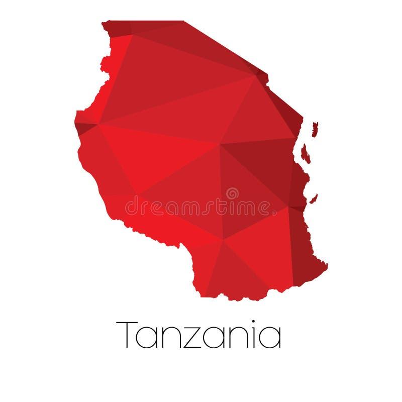 Mapa del país de Tanzania imágenes de archivo libres de regalías