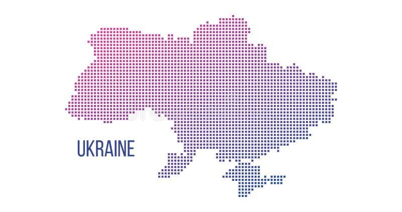 Mapa del país de Ucrania hecho del modelo de punto cuadrado de semitono abstracto, ejemplo del vector aislado en el fondo blanco ilustración del vector