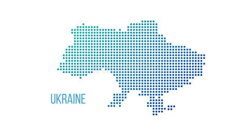 Mapa del país de Ucrania hecho del modelo de punto de semitono abstracto, ejemplo del vector aislado en el fondo blanco ilustración del vector