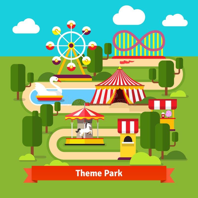 Mapa del parque de atracciones, noria, montaña rusa stock de ilustración