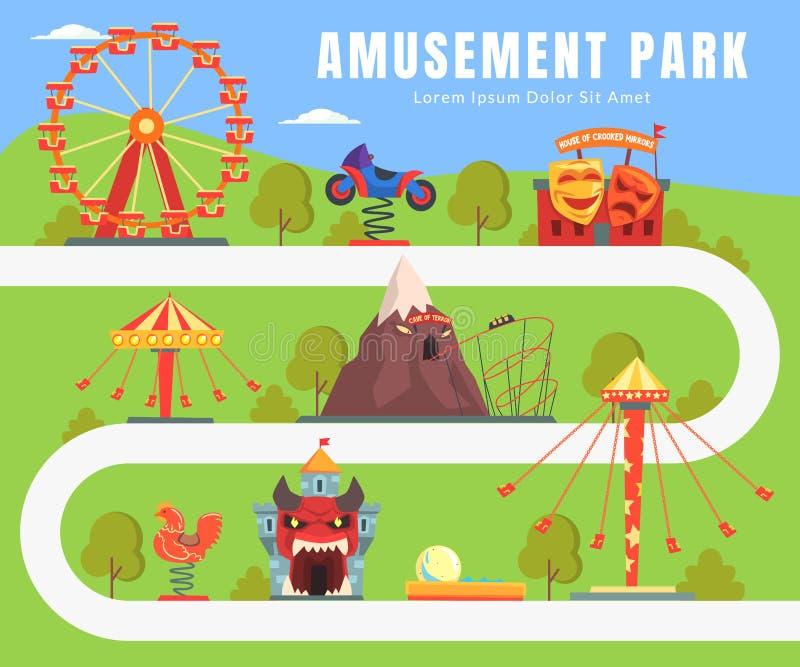 Mapa del parque de atracciones, paisaje del verano, atracciones, castillo, Ferris Wheel, ejemplo del vector de la oscilación ilustración del vector