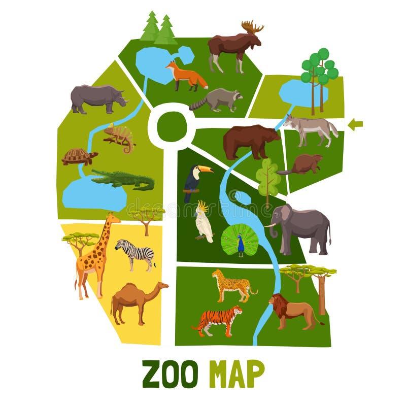 Mapa del parque zoológico de la historieta con los animales libre illustration