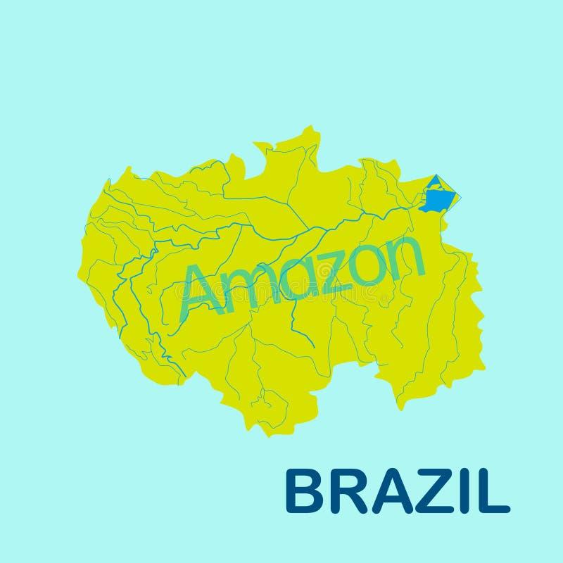 Mapa del río Amazonas en color amarillo en fondo azul ilustración del vector