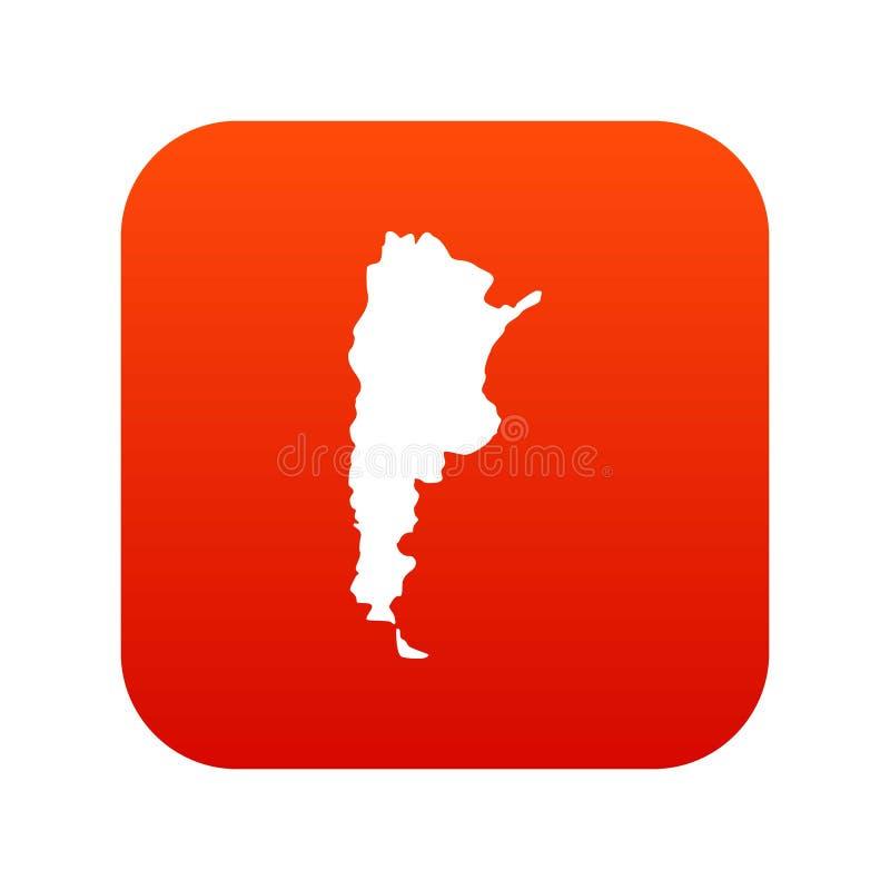 Mapa del rojo digital del icono de la Argentina stock de ilustración