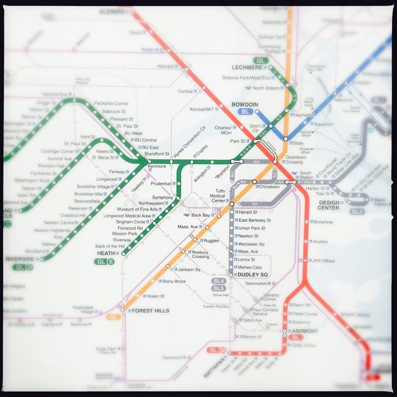 Mapa del subterráneo de Boston imágenes de archivo libres de regalías