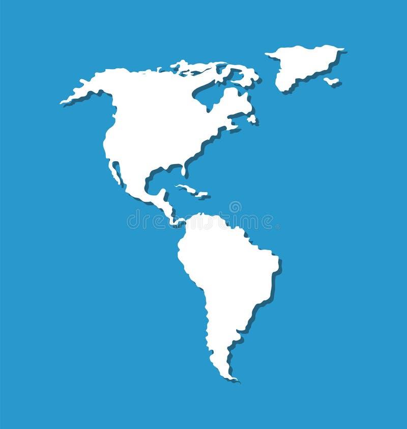Mapa del sur y de Norteamérica en Océano Atlántico ilustración del vector
