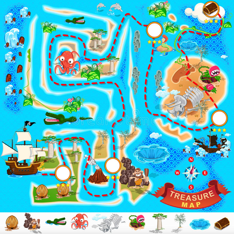 Mapa del tesoro del pirata stock de ilustración