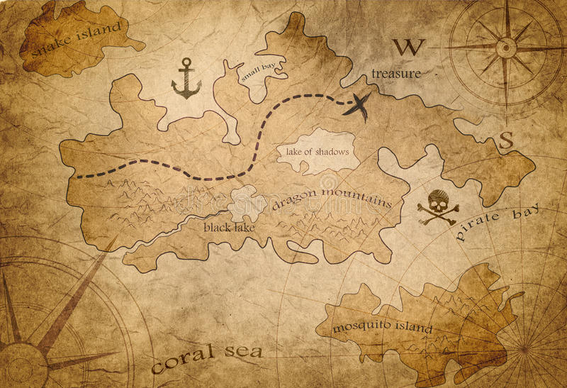 Mapa del tesoro del pirata libre illustration