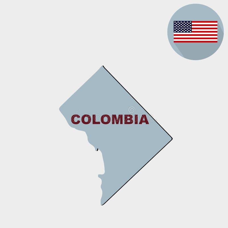 Mapa del U S Distrito de Columbia Bandera, nombre del estado ilustración del vector