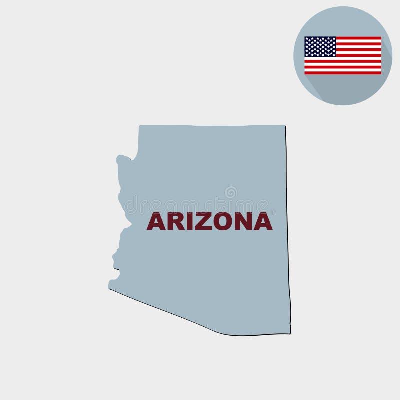 Mapa del U S estado de Arizona en un fondo gris americano stock de ilustración