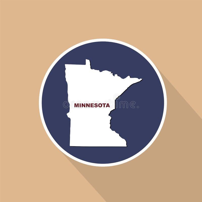 Mapa del U S estado de Minnesota en un fondo azul Estado n ilustración del vector