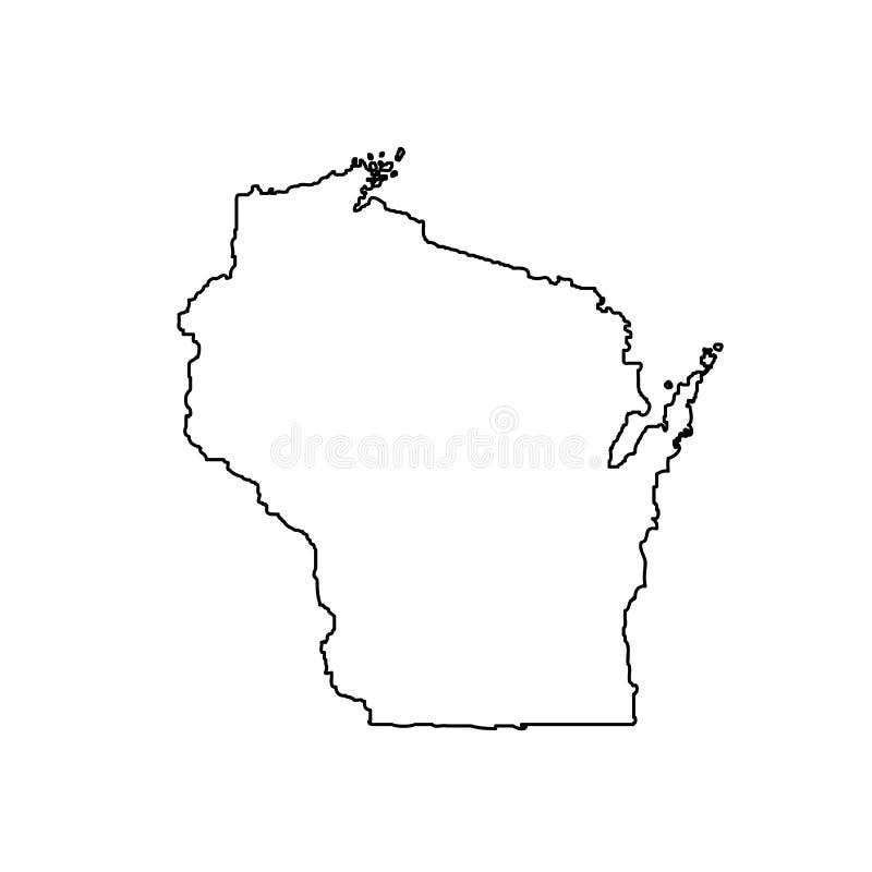 Mapa del U S Estado de Wisconsin ilustración del vector