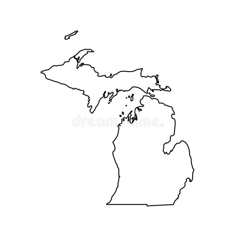 Mapa del U S estado Michigan ilustración del vector