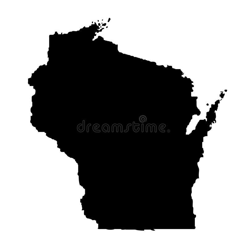 Mapa del U S estado Wisconsin ilustración del vector