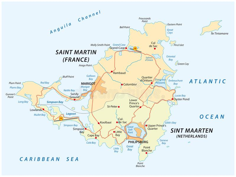 Mapa del vector del camino de Sint Marteen-Sint Maarten libre illustration