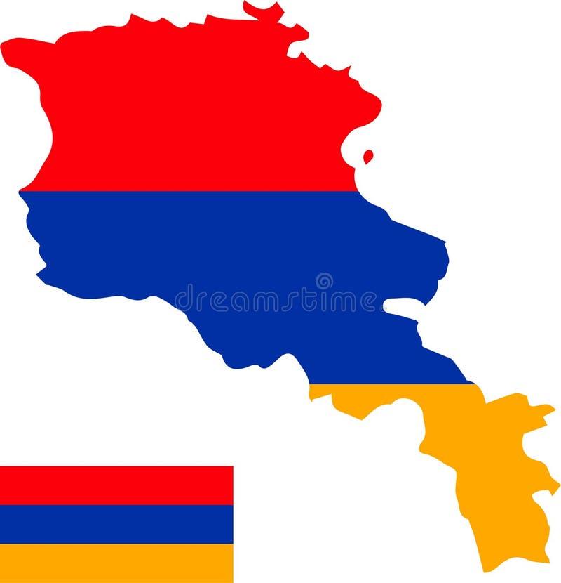 Mapa del vector de Armenia con la bandera fondo aislado, blanco libre illustration