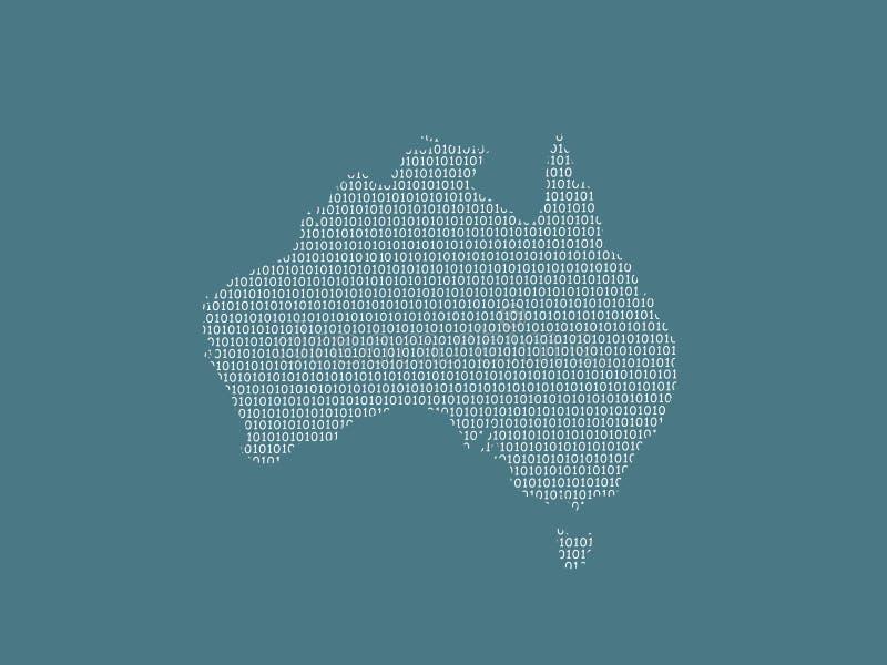 Mapa del vector de Australia usando los dígitos binarios blancos en el fondo oscuro para significar el país digital y el adelanto ilustración del vector