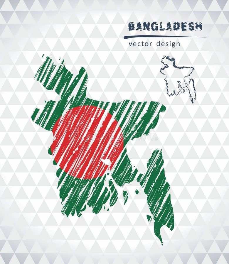 Mapa del vector de Bangladesh con el interior de la bandera aislado en un fondo blanco Ejemplo dibujado mano de la tiza del bosqu libre illustration