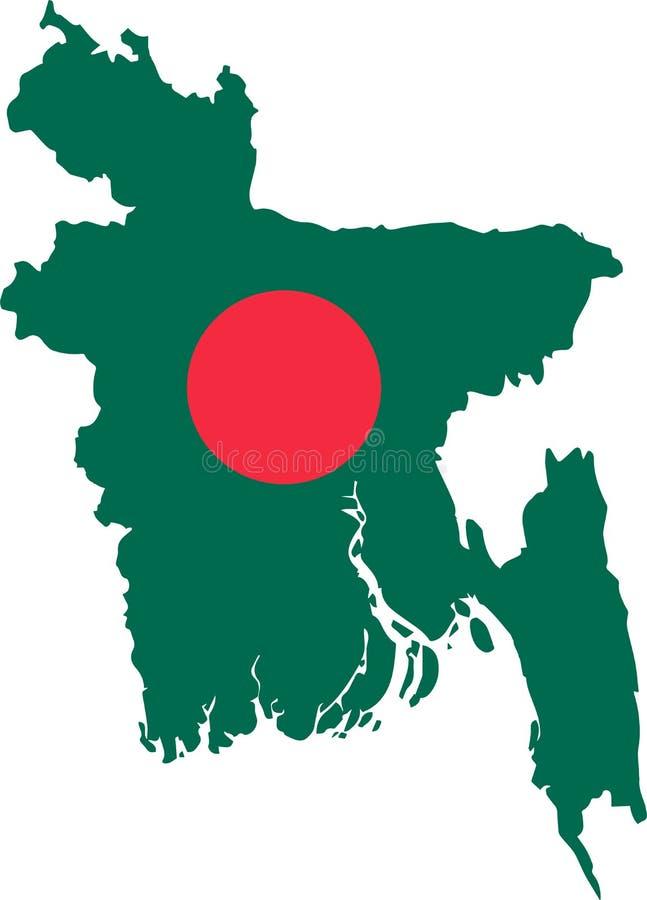 Mapa del vector de Bangladesh con la bandera fondo aislado, blanco libre illustration