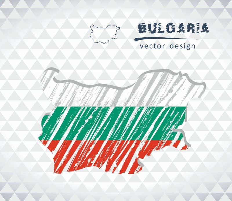 Mapa del vector de Bulgaria con el interior de la bandera aislado en un fondo blanco Ejemplo dibujado mano de la tiza del bosquej libre illustration