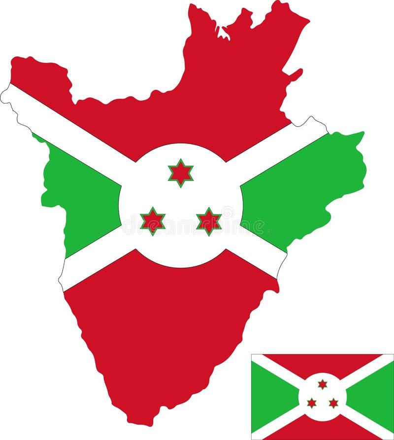 Mapa del vector de Burundi con la bandera fondo aislado, blanco libre illustration
