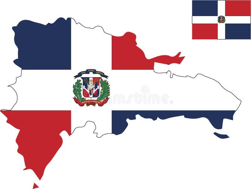 Mapa del vector de dominicano con la bandera fondo aislado, blanco ilustración del vector