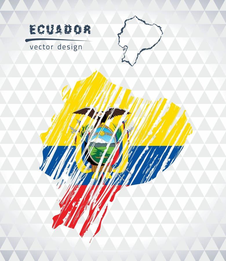 Mapa del vector de Ecuador con el interior de la bandera aislado en un fondo blanco Ejemplo dibujado mano de la tiza del bosquejo ilustración del vector